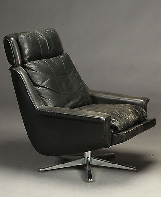 VINTAGE DANISH LANGENFELD HIGH BACK LEATHER SWIVEL LOUNGE CHAIR  1970's