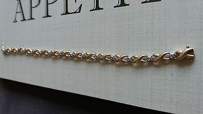 9ct Yellow/White Gold Diamond Bracelet