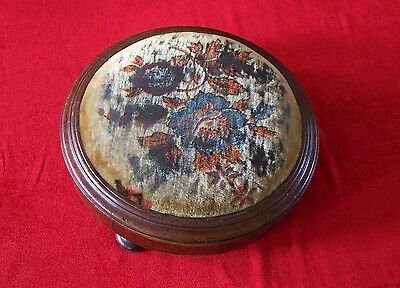 Antique Victorian embroidered footstool- !!!ORIGINAL CONDITION!!!