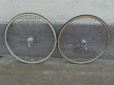Vintage racing wheels Normandy high flange hubs Mavic Speciale Sport rims