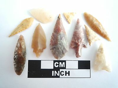 Neolithic Arrowheads x 10, High Quality Selection of Styles - 4000BC - (0384)