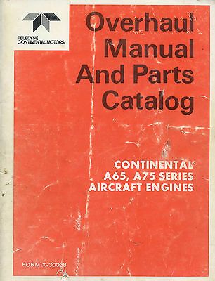 Overhaul Manual And Parts Catalog Continental A65, A75 Series Aircraft Engines