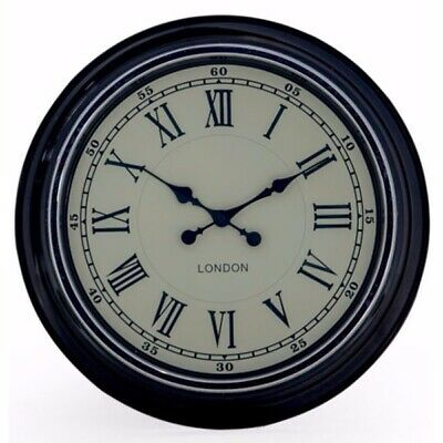Retro Vintage Style London Metal Wall Clock Black With Cream Face Dial D31Cm