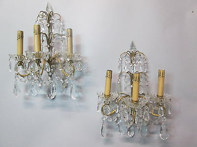 "Vintage Antique Pair Italian Gold Gilt Crystal Prism Wall Sconce Lights  16"" T"