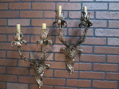 "Vintage Antique French Wall Sconces Bronze Floral 2 Lights 19 1/2"" Tall Stunning"