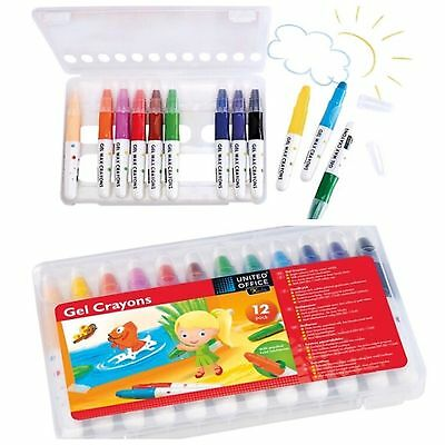 Gel Wax Crayons Set of 12 colours soft tip water soluble  Twist Mechanism