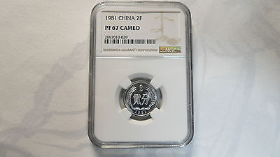 China PRC 2 Fen Proof, 1981, NGC PF 67 Cameo