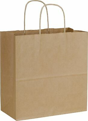 250 Kraft Brown Paper Bags Shoppers Emerald 10 x 5 x 10 1/2""