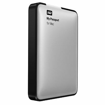 WD 2TB Silver My Passport for Mac Portable  External Hard Drive  - USB 3.0  -...