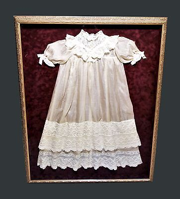 Antique Baby Christening Gown with Bobbin Lace Robe Framed Gangi Family 1910
