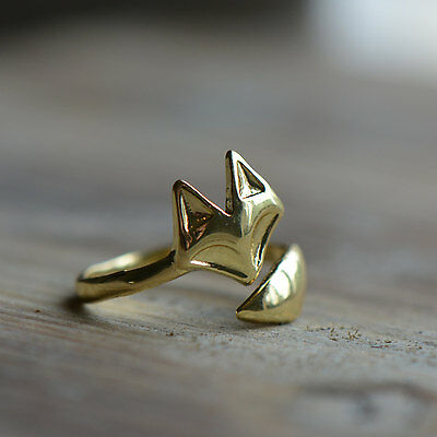 Fox Knuckle Ring - 18K Yellow GOLD Plated - Size is adjustable - Vintage Style
