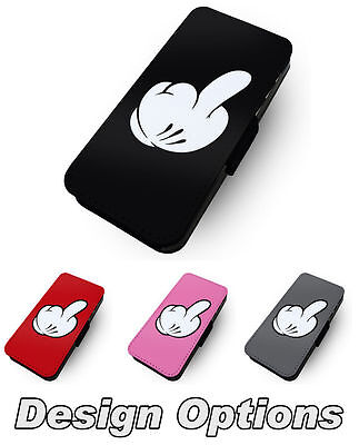 Mickey Glove Middle Finger Large Printed Faux Leather Flip Phone Cover Case
