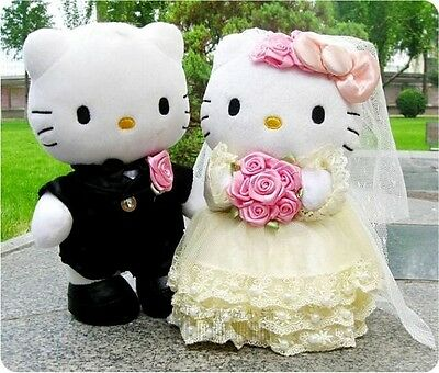 Hello Kitty Plush Doll Wedding Couple New Pink Gift Stuffed Cute Cat Toy Figures