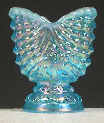 Summit Art Glass Nautilus Toothpick Holder In Blue Opal Carnival Glass