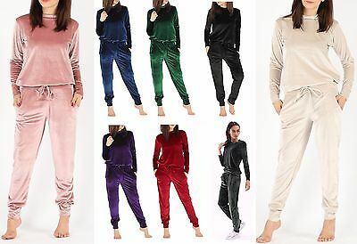 New Women Ladies Velvet Velour 2Pc Jogging Top Loungewear Tracksuit Set