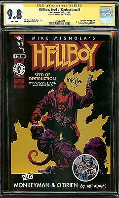 HELLBOY: SEED DESTRUCTION #1 CGC SS 9.8 ORIGIN 1st TITLE! SIGNED by MIGNOLA!