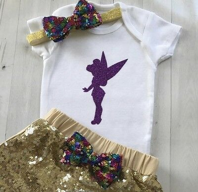 Tinker Bell Purple Glitter Onesie, Onesie ONLY Headband & Shorts NOT Included