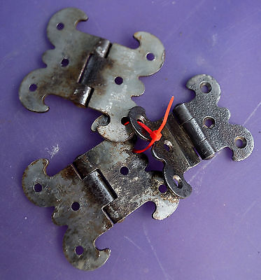 """3 Antique Gothic Rustic Hinges for Repurpose projects - 2 7/8"""" or 2 3/8"""" wide"""