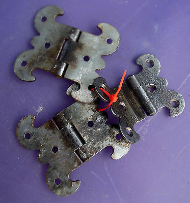 Lot of 3  Antique Gothic Rustic Hinges for Repurpose projects