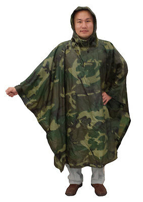Poncho Used by the U.S. Armed Forces Made in USA Woodland Camoflage  #10244