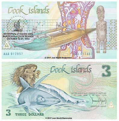 Cook Islands 3 Dollars 1992  P-6  Naked Ina & Shark - Commemorative  UNC