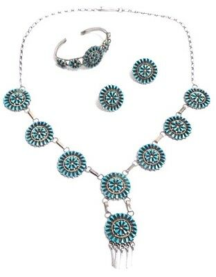 Beautiful Handmade Zuni Sterling Silver and Turquoise Necklace set . Signed