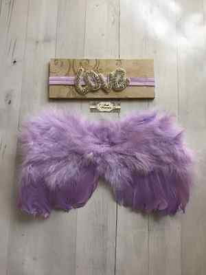 Newborn Baby Girl Lavender LOVE Feather Angel Wings & Headband Set