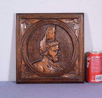 French Antique Breton/Brittany Panel in Carved Oak Wood with Woman's Profile