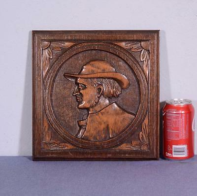 French Antique Breton/Brittany Panel in Carved Oak Wood with Man's Profile