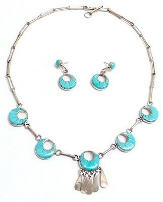 Beautiful Handmade Zuni Sterling Silver and Turquoise Necklace set. Signed LM