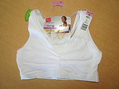 1e99122375 New - HANES Sport Pullover Sports Bra - 2 Pack  H370 - White -36