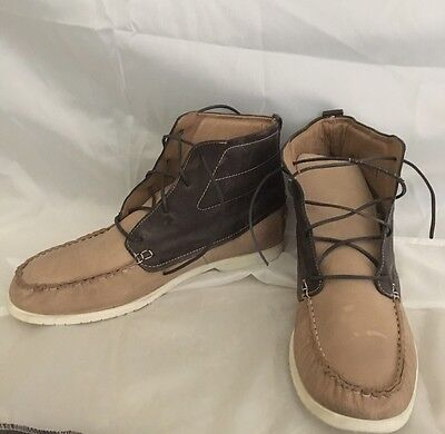 J.D. FISK Boat Ankle Boot Two-toned Beige/Brown Distressed Leather Men's SZ 10.5