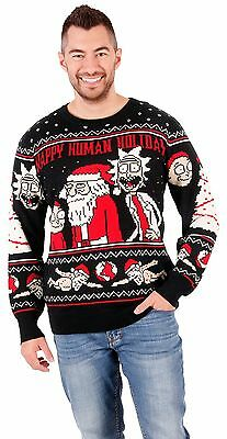 Adult Unisex Rick and Morty Happy Human Holiday Ugly Christmas Knitted Sweater