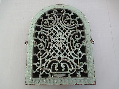 Antique Cast Iron Arch Top Ornate Victorian Heat Grate Wall Register 11 x 14 VF1
