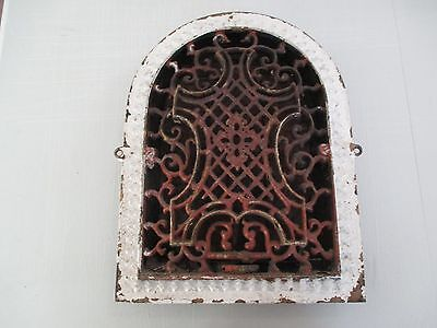 Antique Cast Iron Arch Top Ornate Victorian Heat Grate Wall Register 11x14 VF1/3