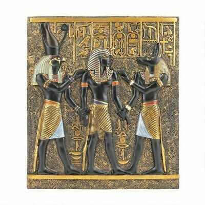 """Ancient Art Gold Egyptian Valley of the Kings 11"""" Wall Frieze Sculpture"""