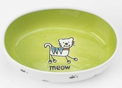 Silly Kitty BOWL - OVAL LIME GREEN 16cm