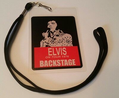 Elvis Presley 1976 BackStage Pass 2-sided!  Signatures + Lanyard  LOOK!! nice!
