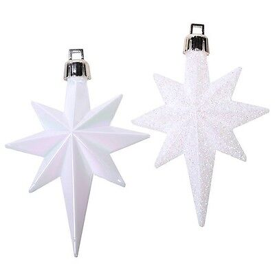 16 x White Christmas Glitter Stars Baubles Xmas Tree Ornament Home Decoration