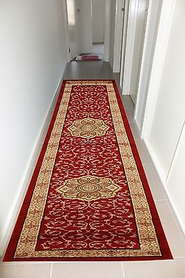 Hall Runner Rug Traditional Pattern Designer 400cm Long Red Ivory FREE DELIVERY*