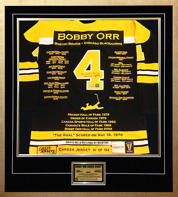 Bobby Orr Framed Career Jersey - Autographed - Ltd Ed 144 - Boston Bruins