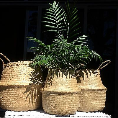 Set of 2 Seagrass Collapsible Round Baskets Storage Plant Pot Covers Natural