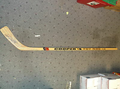 Late Great Bob Probert Signed Hockey Stick Cooper Tnt Model 435 Red Wings Auto