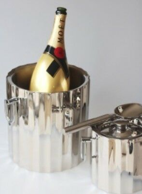 Celebration Ice Wine Bucket Stainless Steel Wave Design Double Walled