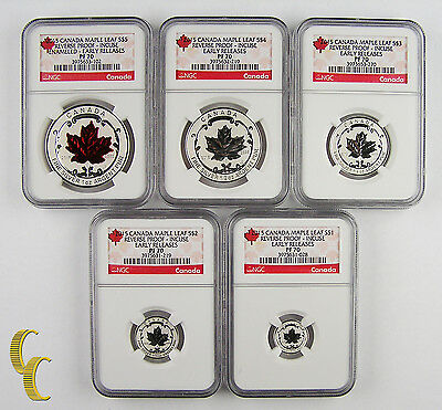 2015 Canada 5-Coin Reverse Proof Incuse Silver Maple Fractional Set NGC PF 70