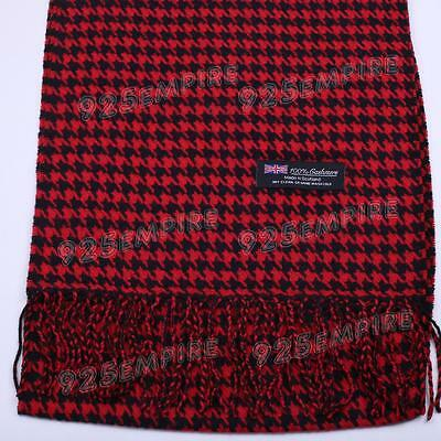 Men's 100% CASHMERE Red/Black Houndstooth Scarf MADE IN SCOTLAND