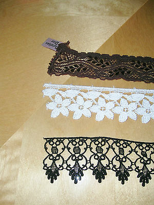 Christian Dior antiqe clothes trimming brown Dior lace black white haberdashery