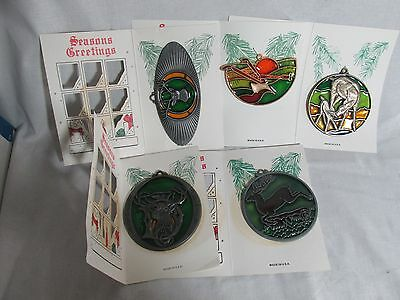 John Deere stained glass and pewter  Christmas deer ornaments lot of 5