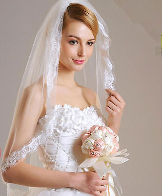 613v 1t Short Bridal White Tulle Fringed Lace Edge Wedding Veil with Comb
