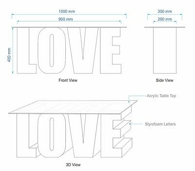 3D LOVE Table / Wedding Table / Candy Table / LOVE Sign Letters -400mm High